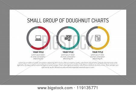 Small group of doughnut charts