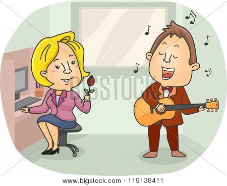 Illustration of a Singing Telegram Employee Serenading an Office Girl