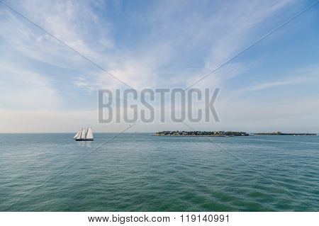 White Clipper Ship On Aqua Sea
