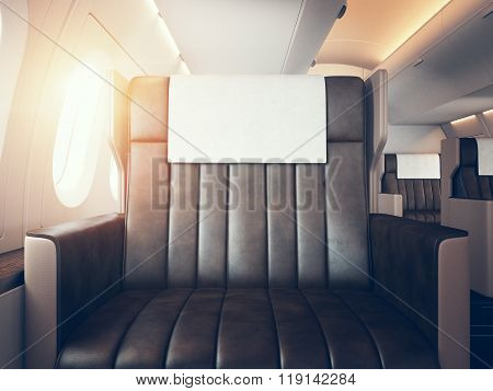 Interior of luxury airplane. Empty leather chair, sunlight. Horizontal mockup. 3d render
