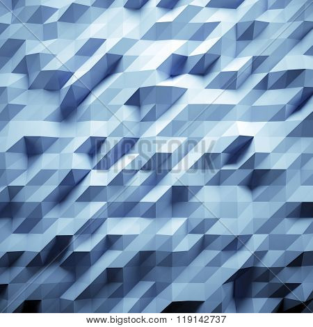 Photo of highly detailed multicolor polygon. Light blue geometric rumpled triangular low poly style.