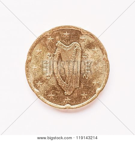 Irish 20 Cent Coin Vintage