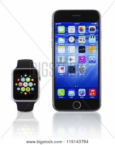 Apple Watch Sport With Iphone 6S On White