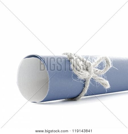 Handmade Natural Rope Knot Tied On Blue Letter Tube Isolated