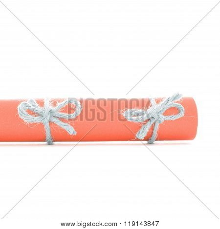 Natural Handmade Cord Knots Tied On Orange Letter Roll Isolated