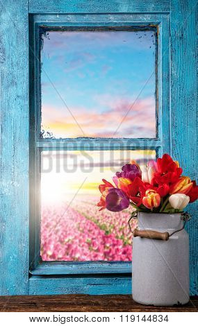 Spring still life decoration with rustic window. Copy-space for text