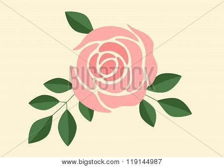 Vector Illustration Of A Pink Rose And Green Leafs