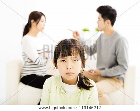 Parents Fighting And Little Girl Being Upset