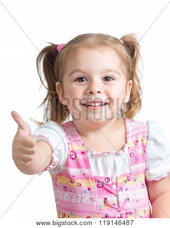 Portrait of a beautiful child girl showing thumbs up