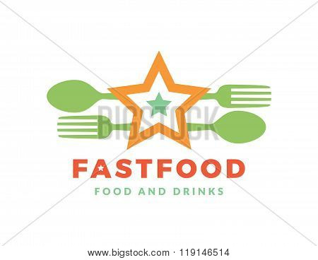 Green logo with word Fast Food, design elements spoon and fork at a white background. Design templat