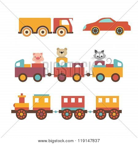 Vector set clip art construction machinery of toys for children.