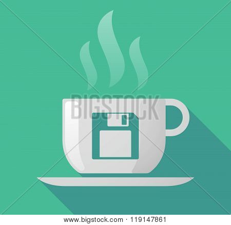 Long Shadow Cup Of Coffee With  A Floppy Disk