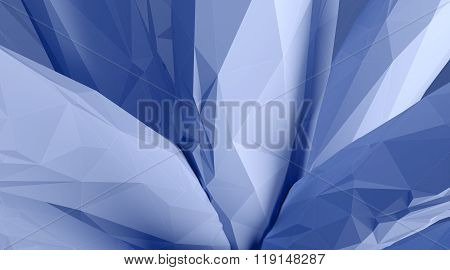 Photo of highly detailed ice blue color polygon. Abstract architecture background. Horizontal. 3d re