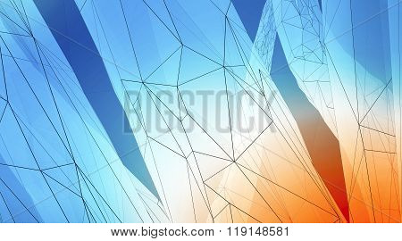 Concept of highly detailed blue orange line background. Art background, horizontal. 3d render