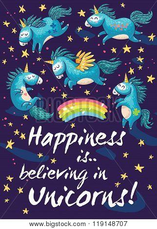 Happy card with cute unicorns. Vector cartoon illustration