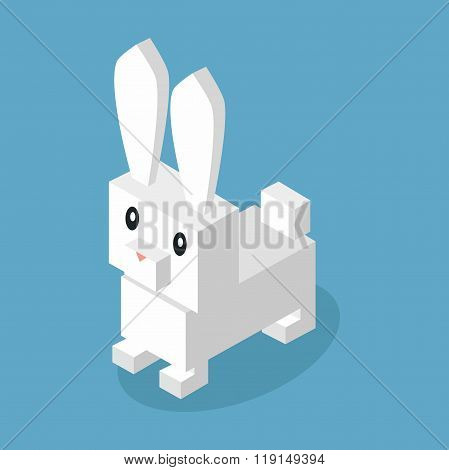 Wild Animal Hare, Rabbit Isometric 3d Design