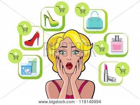 Woman Speech Bubble Sale Design Flat