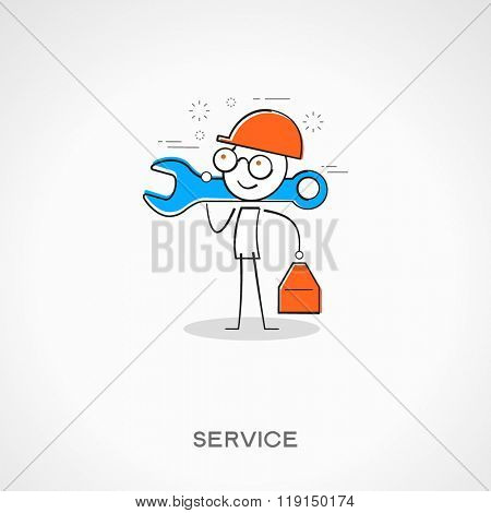Stickman worker. Doodle vector illustration. Services concept. The file is saved in the version 10 EPS.