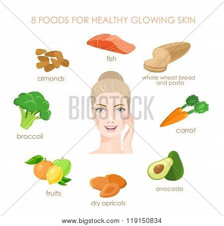 Eight foods for healthy skin. Fresh sources of vitamines. Vector
