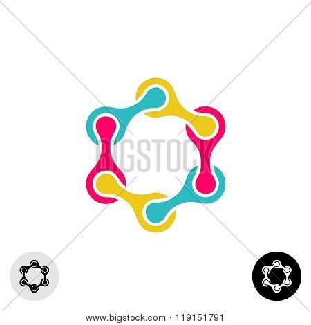 Hexagon Tech Science Logo Template. Social Networking Concept.