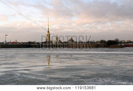 ST. PETERSBURG, RUSSIA - JANUARY 30, 2016: Spire of St. Peter and Paul cathedral over the fortress on Zayachy island. Founded in 1703, the fortress was never directly involved in hostilities
