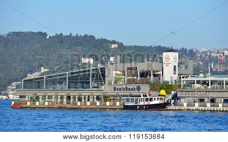 ISTANBUL, TURKEY - MARCH 22, 2014: People on the Galatasaray islet. Since 1957, the islet is owned by Galatasaray sport club, which in 2002 starts to turn it into one of of the city