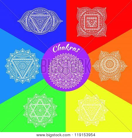 Set of seven chakras. Oriental ornaments for henna tattoo and for your design. Buddhism decorative e