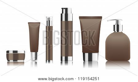 Brown cosmetic tubes. Vector