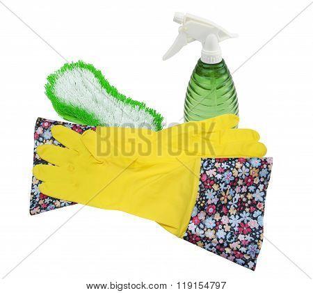 Rubber Gloves, Brush and Spray Bottle