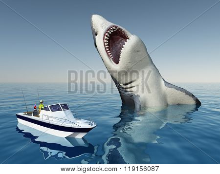 Sea Angler and the Megalodon Shark