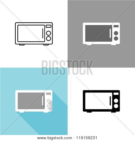 Microwave Oven Front View Black Silhouette Illustration With Variations. Linear And Flat Styles.