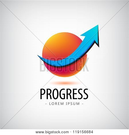 Vector progress logo, growth financial and business success, icon, arrow up sphere, 3d, identity,