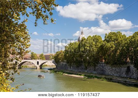 View Of Tiber River In Rome Italy