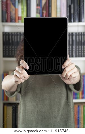 Woman Showing Tablet At Library