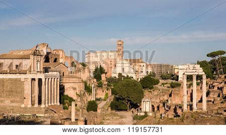 Ruins Of Ancient Rome In Evening Light