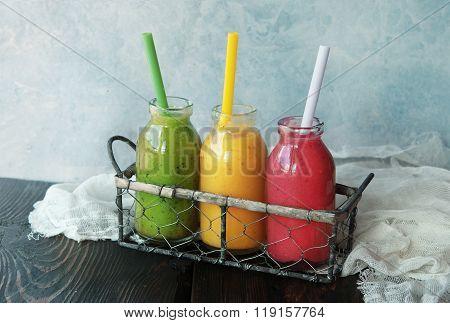 Three Smoothies Bottles