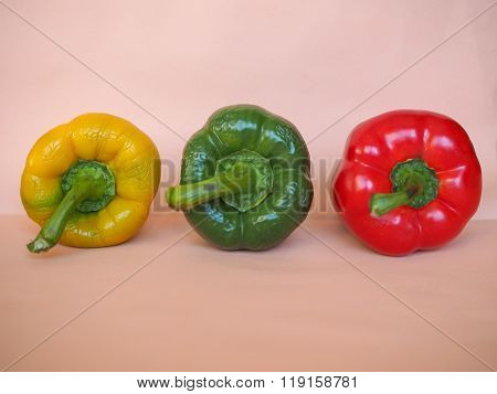 Yellow Green And Red Peppers Vegetables