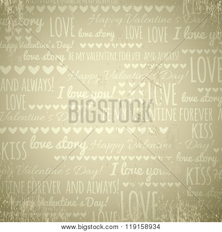 Beige Background With  Valentine Hearts And Text,  Vector