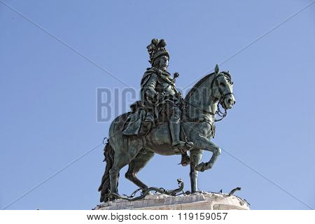 Statue Of King Jose I On The Commerce Square - Praca Do Comercio - In Downtown Lisbon, Portugal.