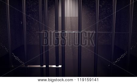 3D Render Of Locked Prison Cell For Two Persons.