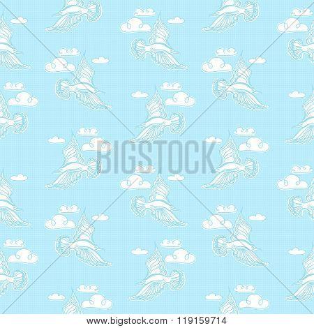 Summer Sea Seamless Pattern. Illustration Of Bird Seagull