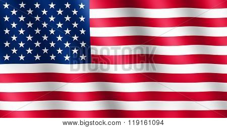 Flag Of Usa Waving In The Wind