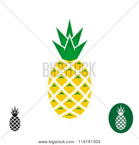 Pineapple Vector Logo. Geometric Sharp Corners Style Logo. Color And Monochrome Versions.