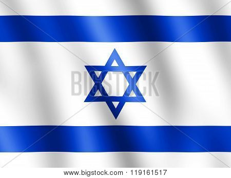 Flag Of Israel Waving In The Wind