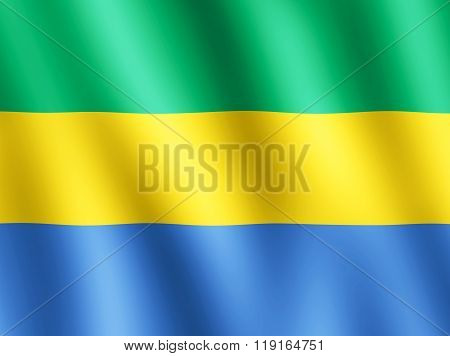 Flag Of Gabon Waving In The Wind