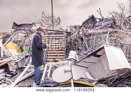 Homeless Seeking Material Useful In Landfill