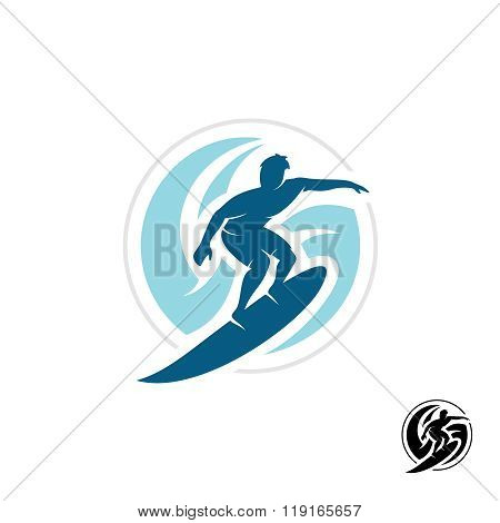 Surf Logo With Man Silhouette, Board And Sea Waves Water Twirl In A Round Shape.
