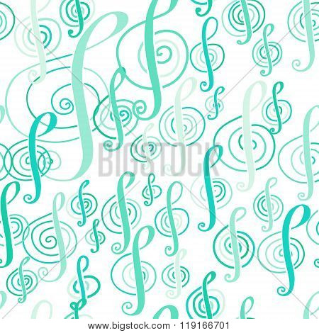 Seamless Music Pattern With A Treble Clef.