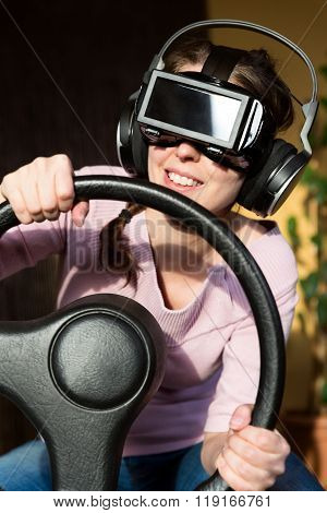 Woman With A Driving Simulator