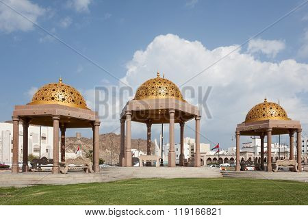 Golden Pavilions In Muttrah, Oman